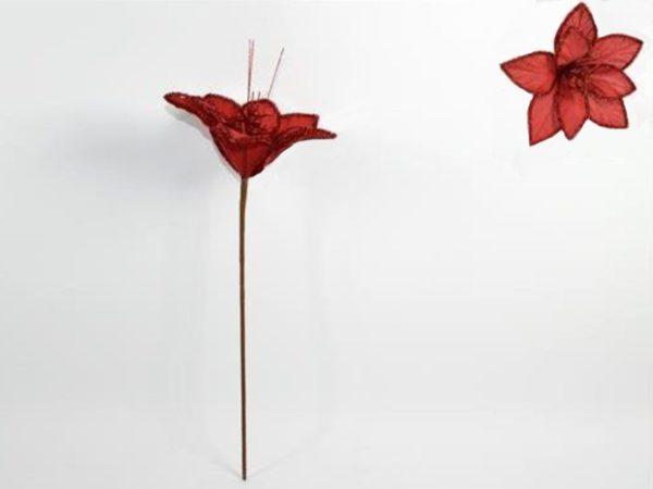Stelo fiore Canvas Rosso Glitter