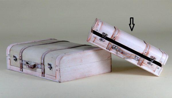 Valigia rettangolare legno crema media