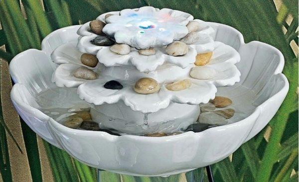 Fontana fiore ceramica bianca con led