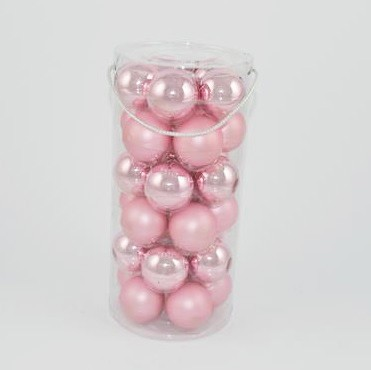 Set palle di Natale rosa bicolor