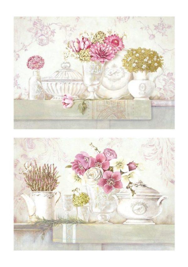 """Quadro in Legno """"Fiori & Porcellane"""""""