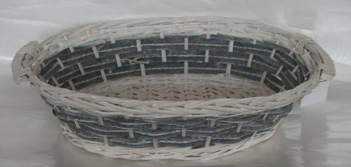 Cesta Vimini Bianco Fascia Blu Ovale Cm47X33H12