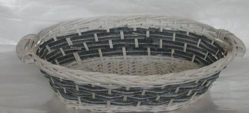 Cesta Vimini Bianco Fascia Blu Ovale Cm51X40H13
