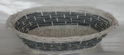 Cesta Vimini Bianco Fascia Blu Ovale Cm57X43H15