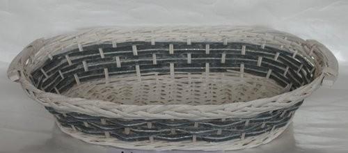 Cesta Vimini Bianco Fascia Blu Ovale Cm58X41H13