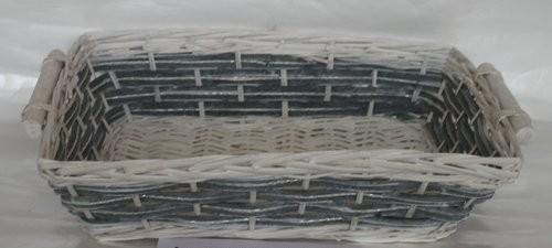 Cesta Vimini Bianco Fascia Blu Rettangolare Cm49X37H13