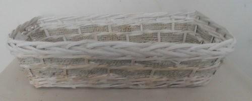 Cesta Vimini Bianco Con Corda Rettangolare Cm47X27H13