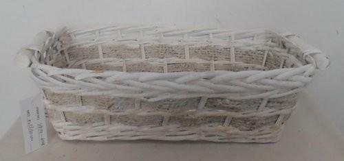 Cesta Vimini Bianco Con Corda Rettangolare Cm46X30H15