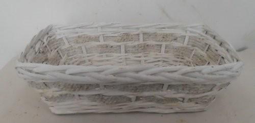 Cesta Vimini Bianco Con Corda Rettangolare Cm34X25H10