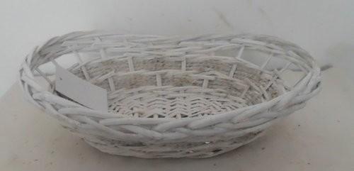 Cesta Cuffa Vimini Bianco Con Corda Ovale Cm35X25H9/13