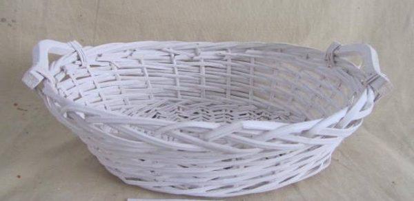 Cesta Vimini Bianco Ovale Cm43X33H13