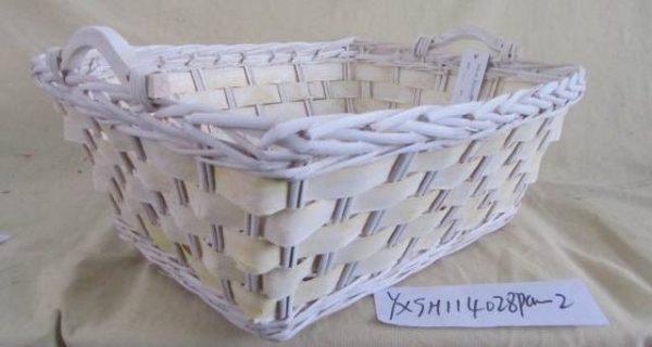 Cesta Vimini Bianco Con Sfoglia Giallo Rettangolare Cm56X45H22
