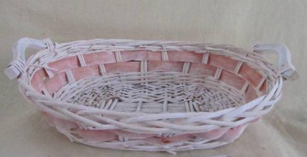 Cesta Vimini Bianco Con Sfoglia Rosa Ovale Cm45X37H12