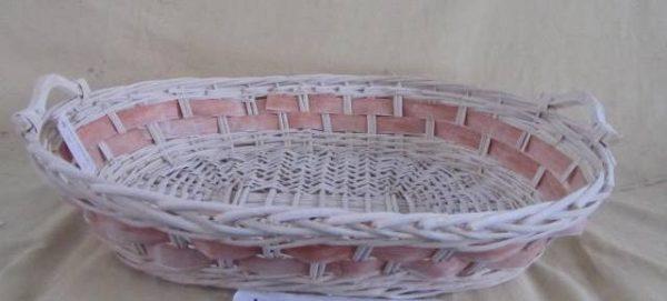 Cesta Vimini Bianco Con Sfoglia Rosa Ovale Cm68X54H14