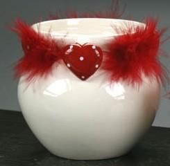 Vasetto con cuore rosso