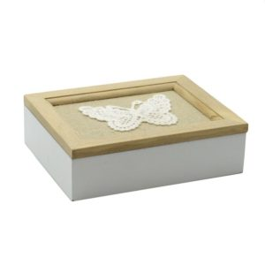 Portagioie in legno con farfalla