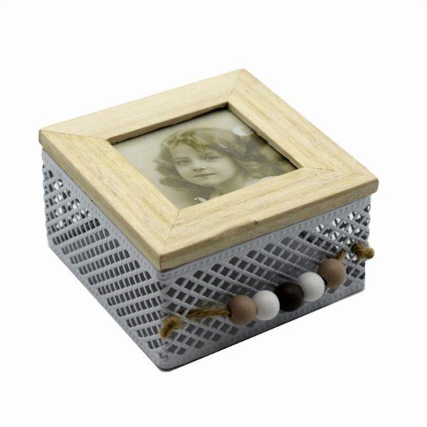 Scatola metallo lignum con portafoto