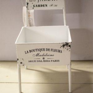 Portavaso metallo bianco sedietta
