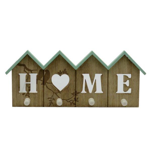 """Appendino in legno """"home"""" 4 posti"""