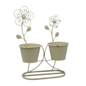 "Portavaso in metallo ""Flower"" 2 posti"