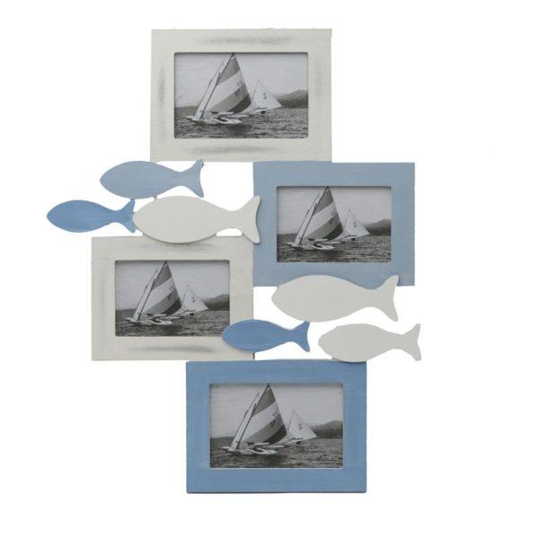 """Portafoto in legno """"mare"""" 4 posti"""