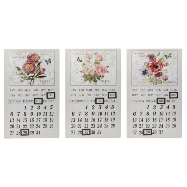 Calendario in metallo fantasia fiori