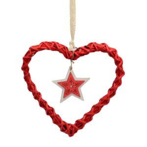 Decorazione cuore in vimini rosso con stella