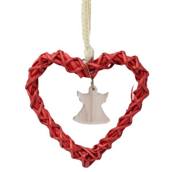 Decorazione cuore in vimini rosso con angelo
