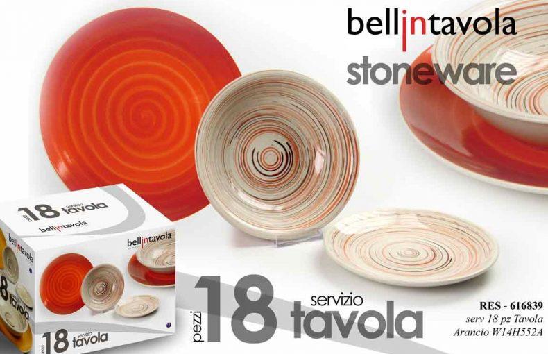 Set Piatti 18 Pezzi In Ceramica Color Arancione