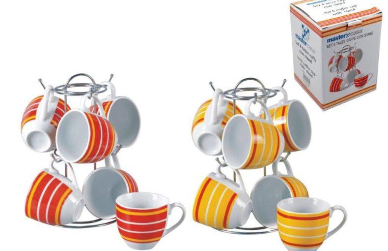 Set 6 tazzine da caffè più supporto
