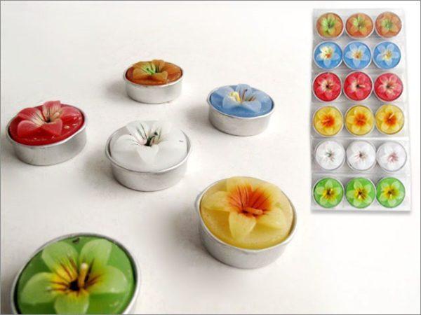 Set 3 Confezioni Da 3 Candele Tea-Light Fiori 6 Colori