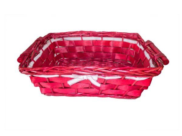 Cesta vimini rosso nastro bianco rosso rettangolare cm46x37h15