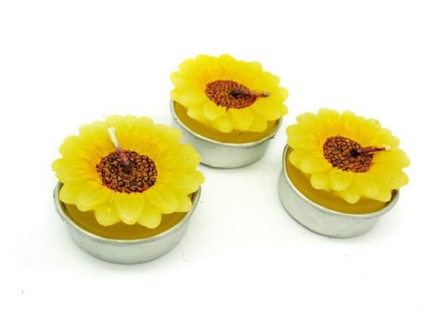 Set 3 candele tealight girasole