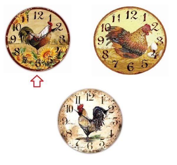 Orologio in legno mdf galli e gallina