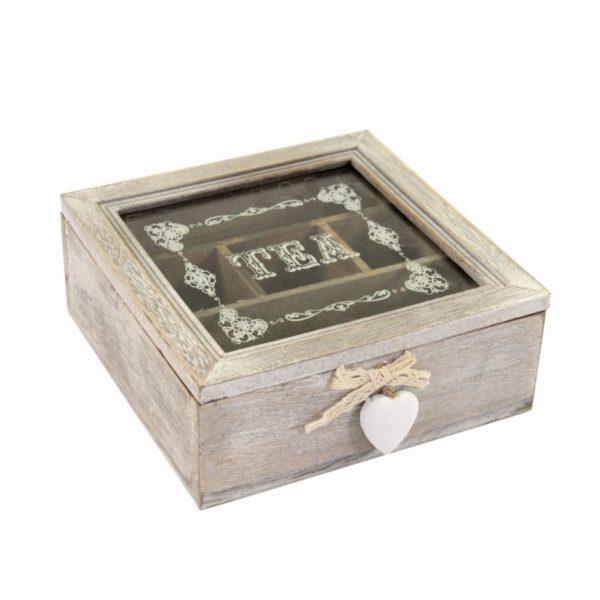 Scatola portathe in legno con cuori