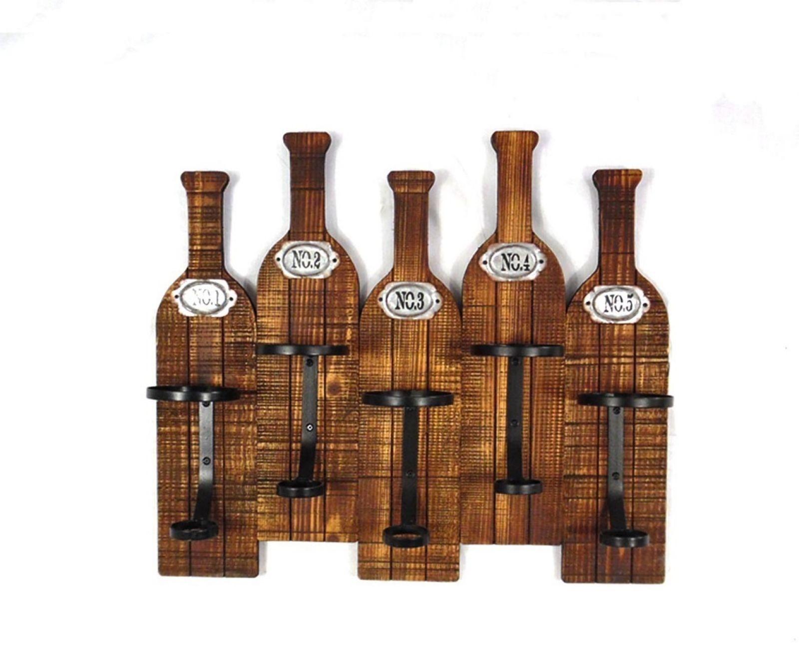 Portabottiglie in legno 5 posti ferrini gift for Portabottiglie in legno fai da te