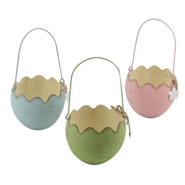 Decorazione In Metallo Cestino Uovo Tondo 3 Colori