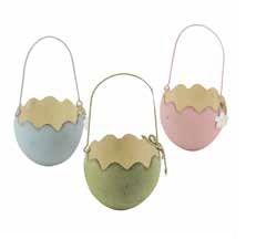 Cestino in metallo a forma di uovo