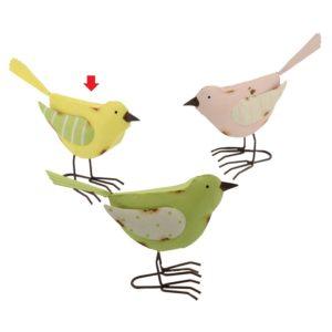 Decorazione Uccello Metallo Righe E Pois 3 Colori