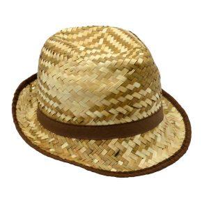 Cappello In Paglietta Uomo Con Fascia Marrone
