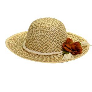 Cappello In Paglia Motivo Bicolore Con Fiore