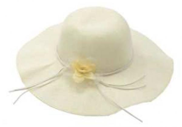 Cappello per donna bianco decorato con fiore