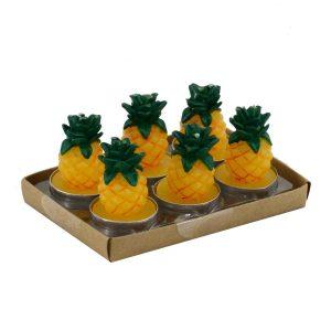 Set Confezione 6 Pezzi Candela Ananas Giallo Verde