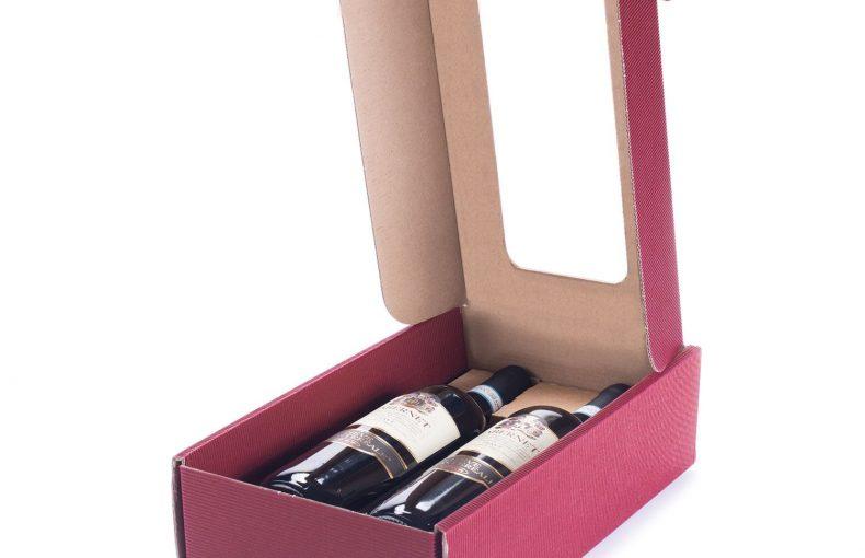 Scatola Portavino Ondulata Bordeaux Con Finestra