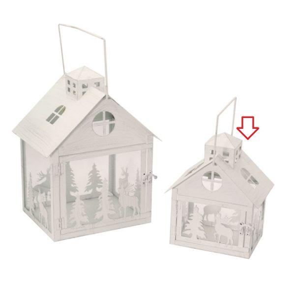 Lanterna In Metallo Piccola Forma Casa Bianco Argento