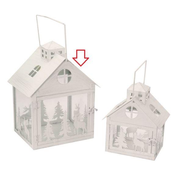 Lanterna In Metallo Grande Forma Casa Bianco Argento