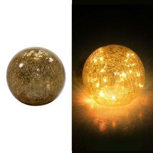 Lampada Led In Vetro Argento Oro Sfera Grande