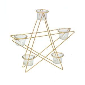 Portacandele In Metello Oro Forma Stella 5 Posti