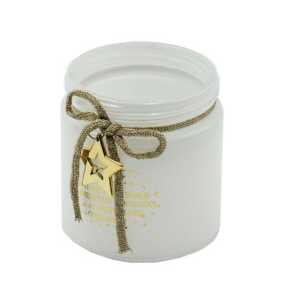 Portacandele In Vetro Bianco Stella Oro Piccolo