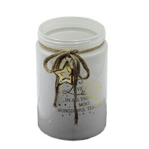 Portacandele In Vetro Bianco Stella Oro Grande